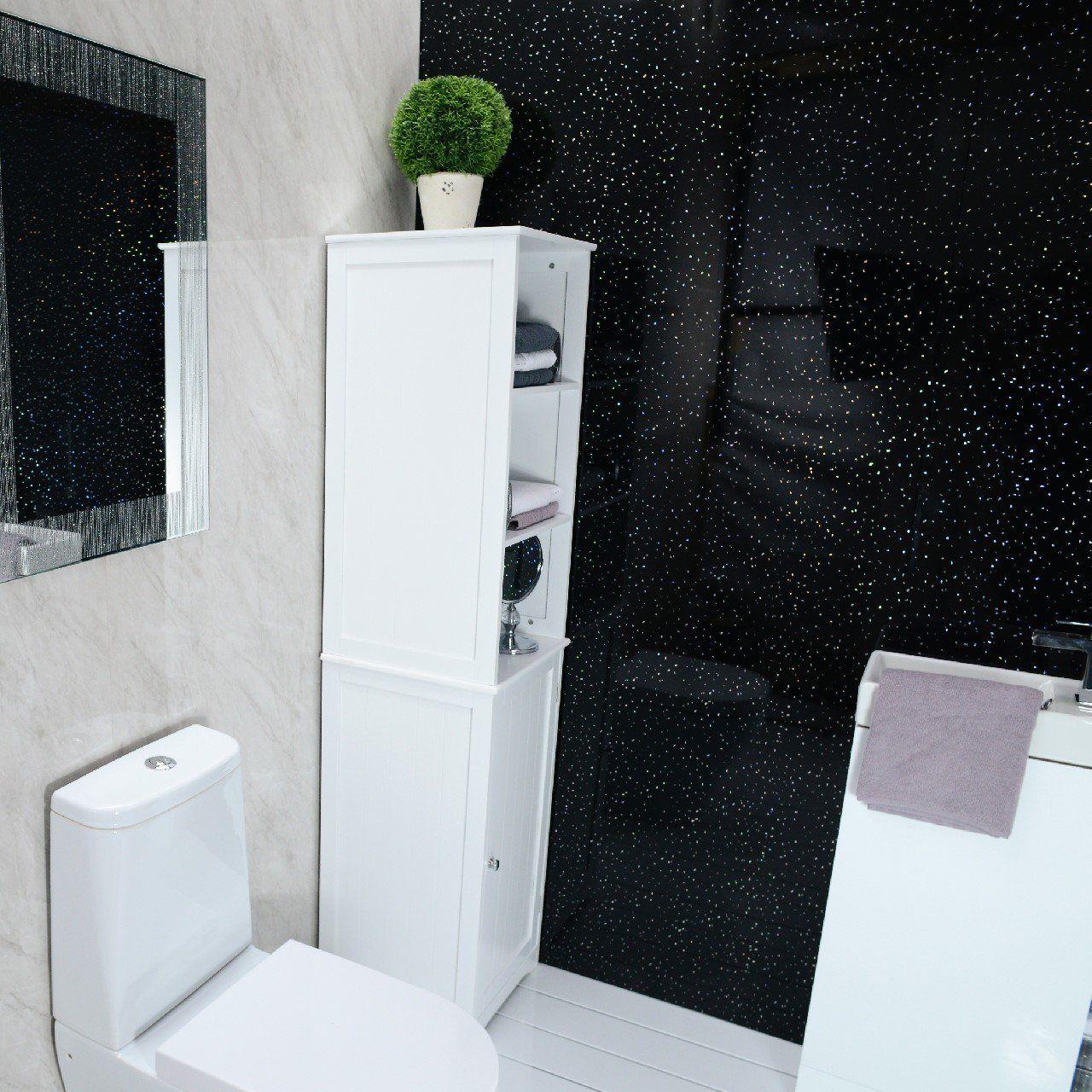 Black Bathroom Panels Pvc For Shower Cladding Wall Panels Ceiling Panels Black Sparkle Diamond 100 Waterproof Black Bathroom Bathroom Paneling Ceiling Panels