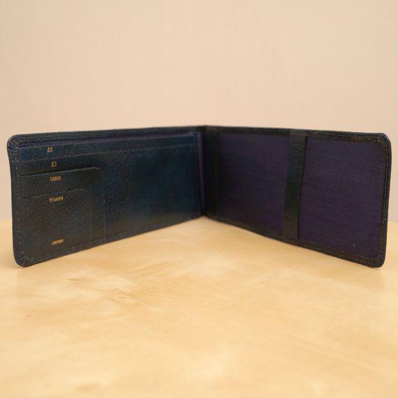 Vintage Real Leather Wallet  Genuine Leather  Dark by UKAmobile