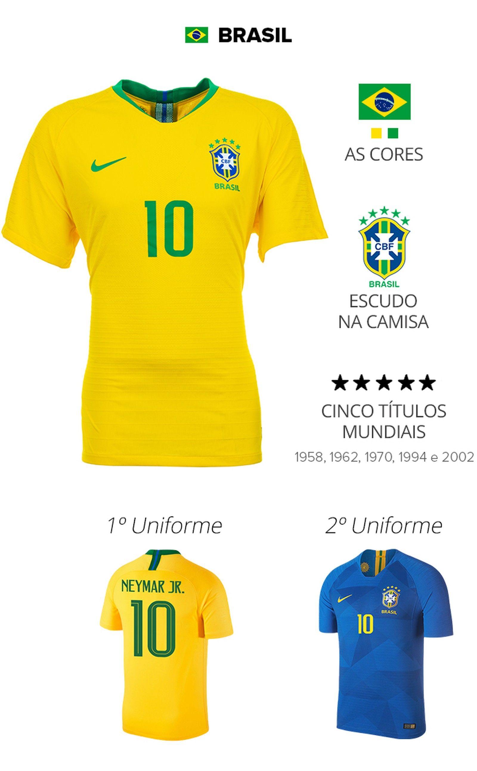 bb121893ed As camisas das 32 seleções da Copa | copa 2018 | Sportv Camiseta Da Seleção  Brasileira