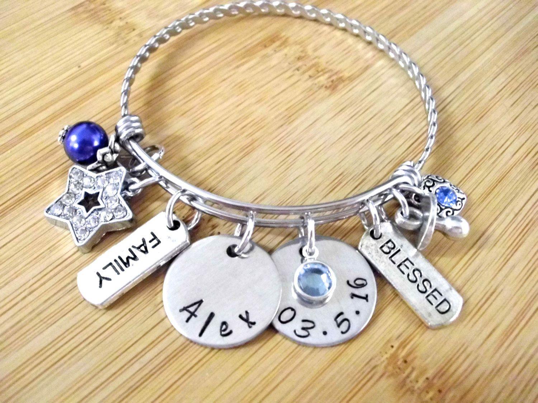 New Baby Jewelry Personalized Mom Bracelet Birth Birthday