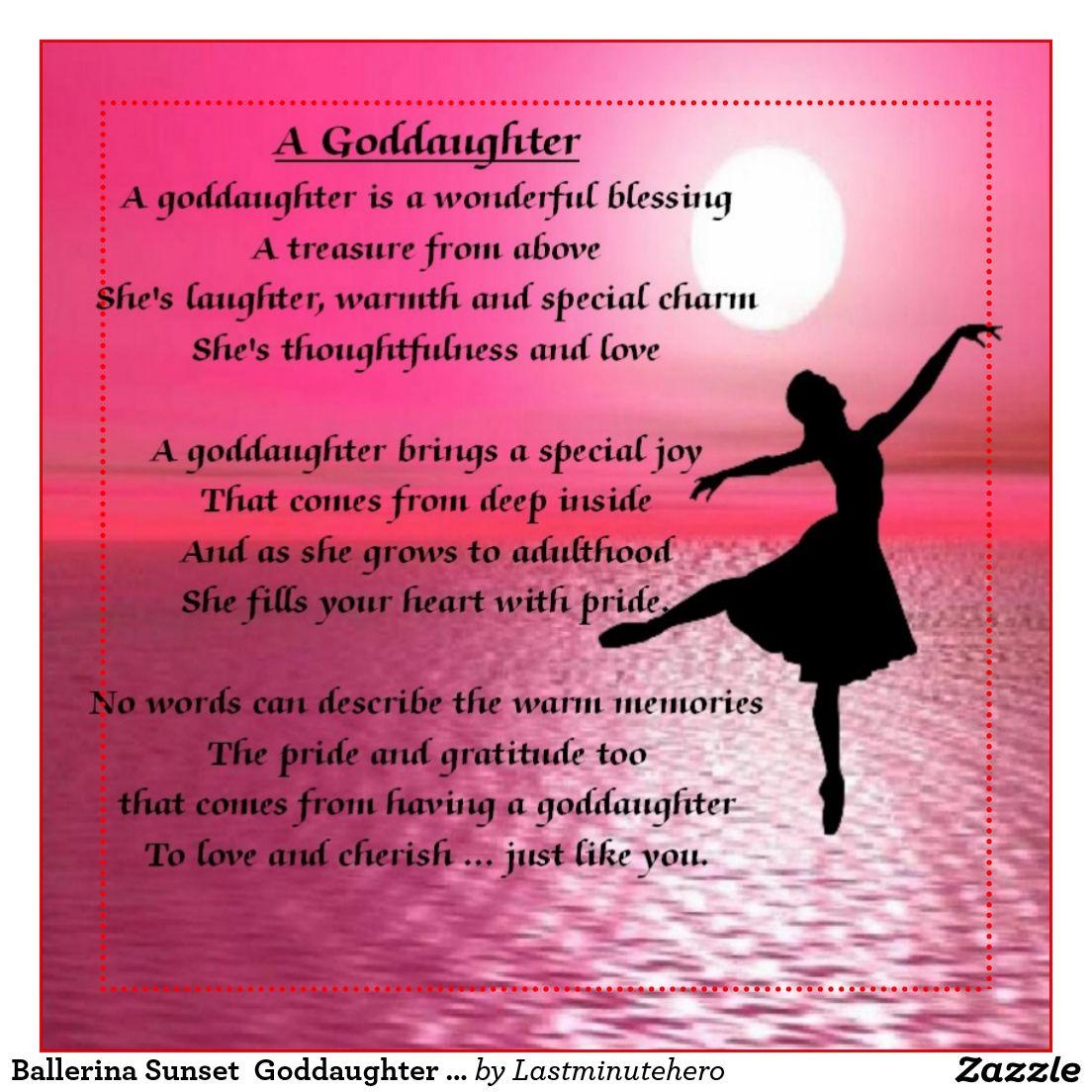 Inspirational Birthday Quotes For Goddaughter: Ballerina Sunset Goddaughter Poem Magnet