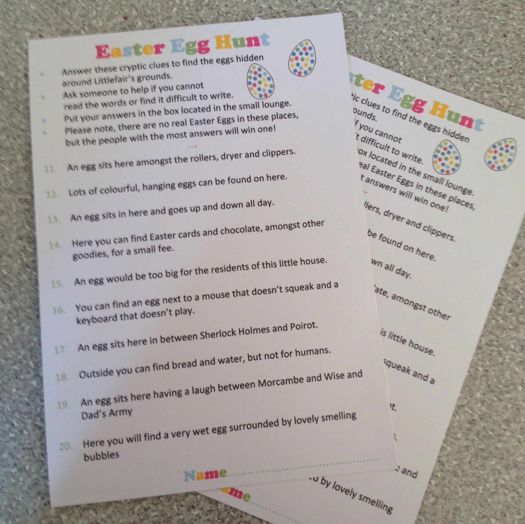 Easter Egg Cryptic Clue Hunt For A Care Home