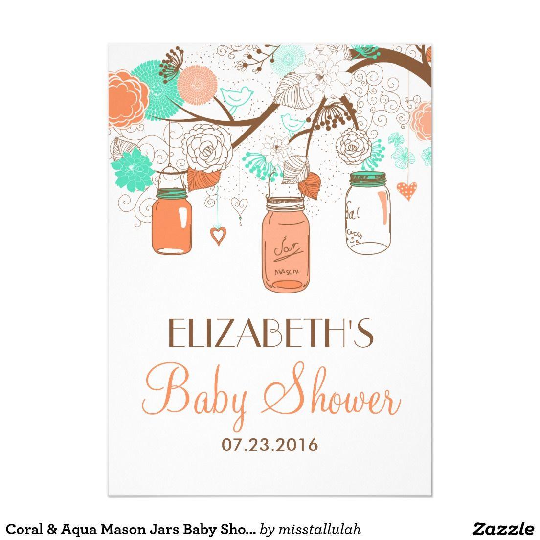 Coral & Aqua Mason Jars Baby Shower Invitation. Artwork designed by ...