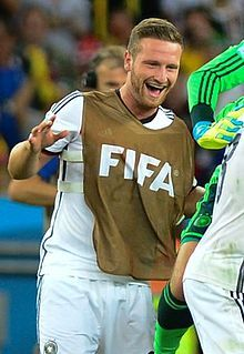 Mustafi after winning the 2014 FIFA World Cup with Germany.