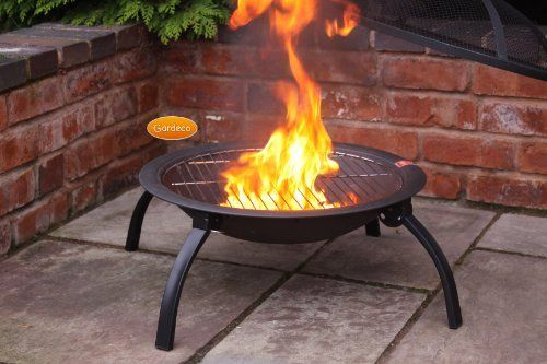 Steel Portable Fire Bowl BBQ Firepit With Folding Legs 56cm W X 39cm H