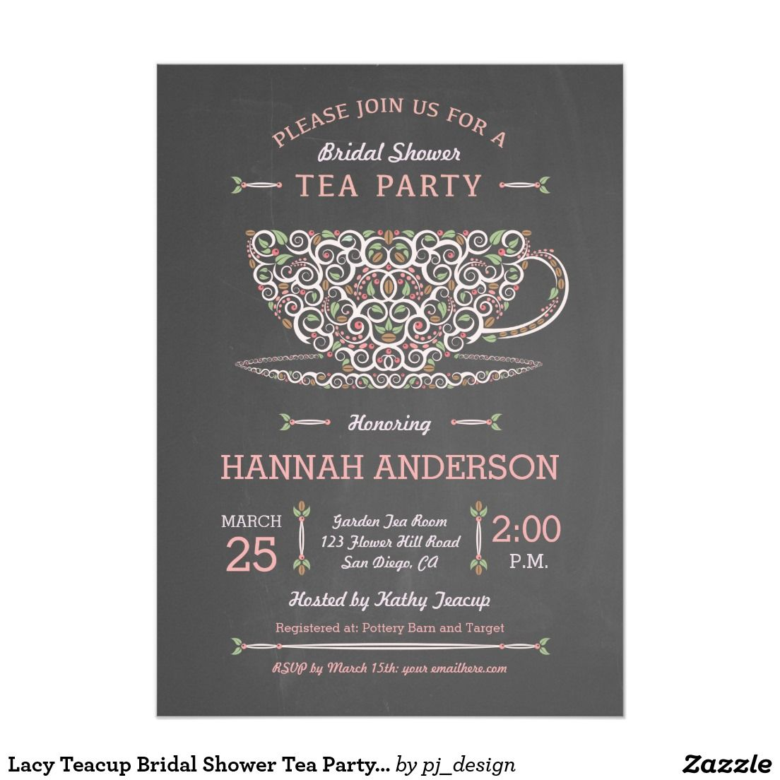 Lacy Teacup Bridal Shower Tea Party Invitation I