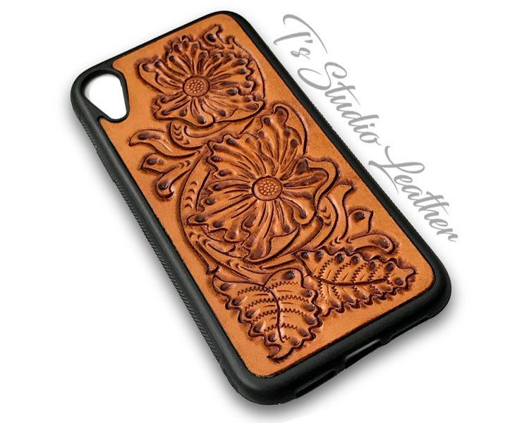 Hand tooled leather phone case western style tool leather