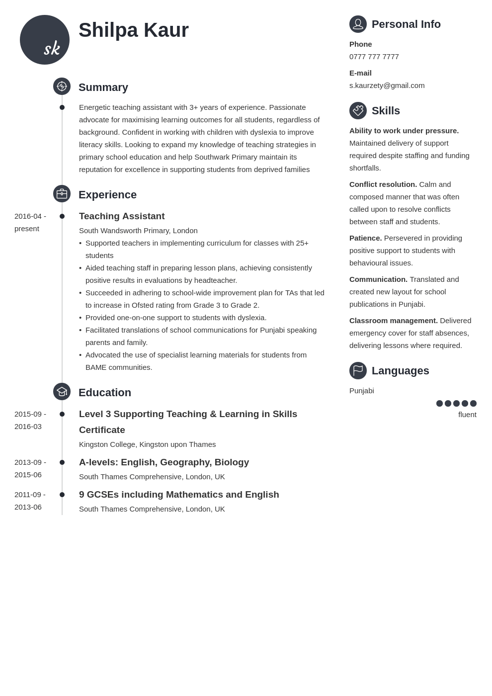 uk teaching assistant cv example template enfold in 2020