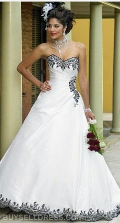 Wedding Dress with black accents | If I could do it again lol ...