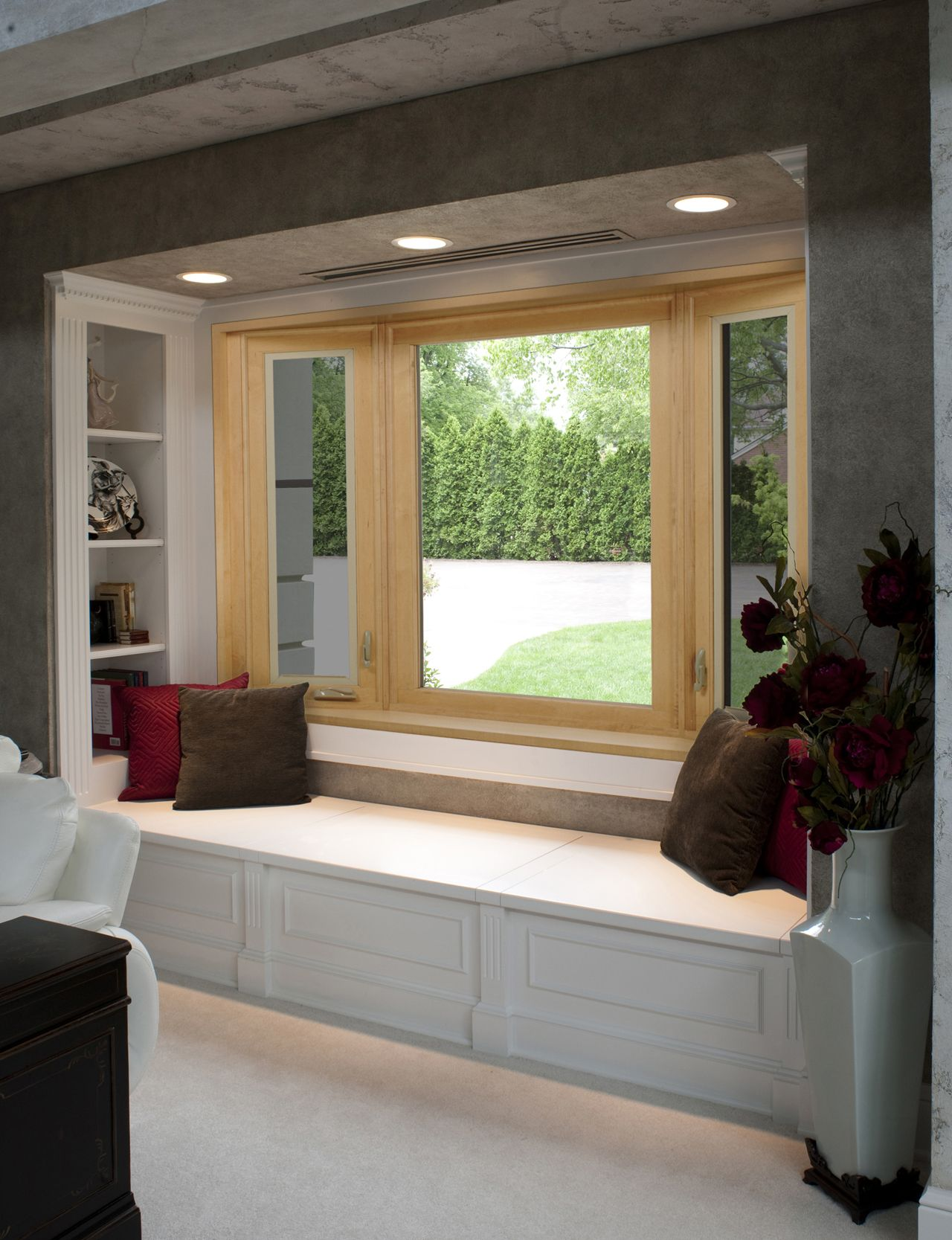 Kitchen bay window exterior  a bay window by provia with a prefinished real wood interior will