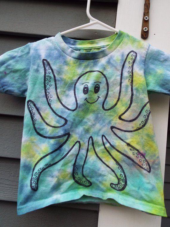 951f7cbb Toddler Octopus Shirt, Custom Tie Dye Octopus T-shirt for Toddlers, Little Kids  Tie Dye Shirt, Ocean