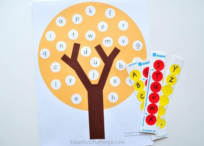 Fun Fall Tree ABC Match Preschool Printable #falltrees