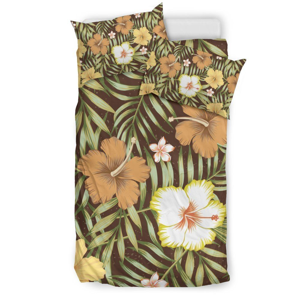 Vintage Hawaiian Floral Tropical Flower Hibiscus Palm Leaves Pattern Print Duvet Cover Bedding Set #tropicalpattern