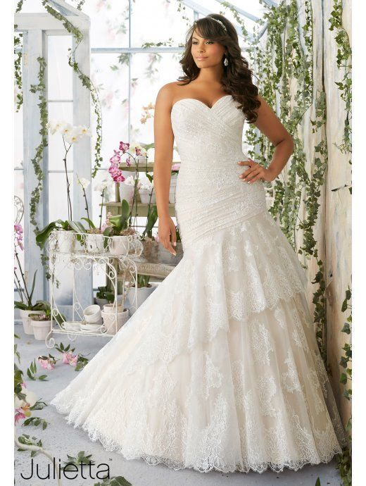 MORI LEE Mori Lee 3191 Strapless Plus Sized Ivory Fishtail Wedding ...