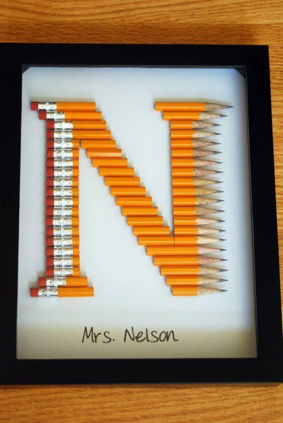 Personalized Teacher Gift Unique Monogram In 2 Pencil