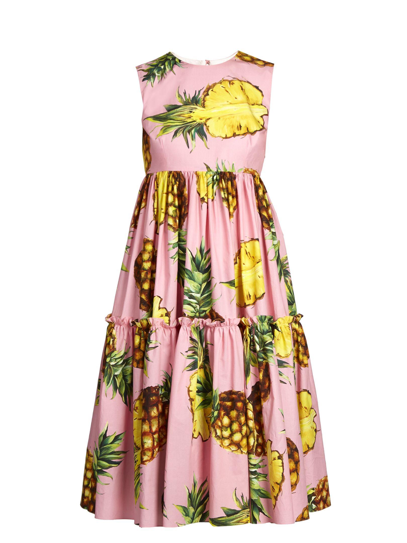 270e3b661335 Pineapple-print cotton dress