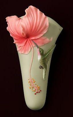 Hibiscus and Hummingbird Wall Decor/Wall Vase | Ceramic ...