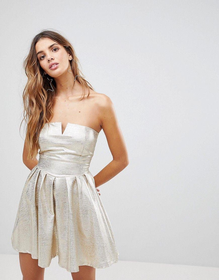 Wal G - Trägerloses Kleid in Metallic - Gold Jetzt bestellen unter ...