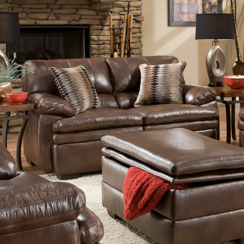 Simmons Upholstery Editor Bonded Leather Loveseat Brown 9545 02 Editor Brown Leather