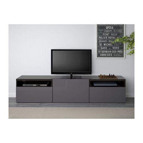 BESTÅ TV bench, black-brown, Selsviken high-gloss/gray black-brown/Selsviken high-gloss/gray drawer runner, push-open 180x40x38 cm