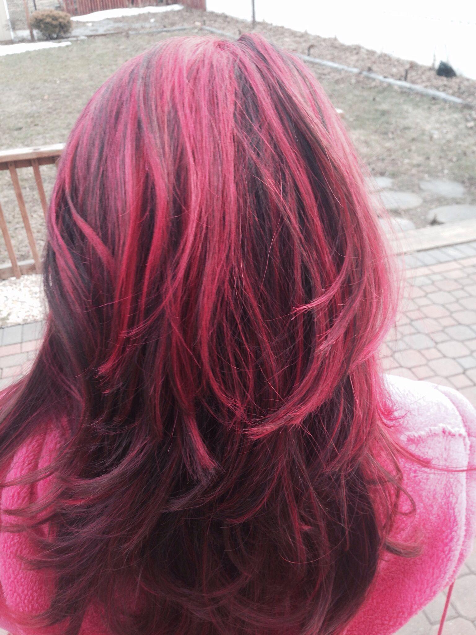 Pink Highlights on brown hair Hair Pinterest