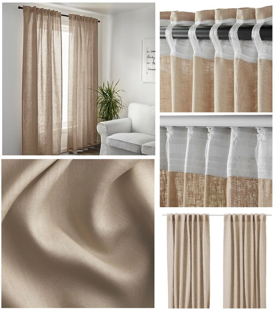 Ebay Sponsored Ikea Aina Beige Linen Curtain Panel New 2 Tan 98 Natural Sheer Drapes Retired Curtains Living Room Tan Curtains Plastic Curtains