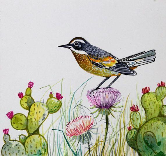 Cactus Wren Bird Art Original Watercolor Painting | Imagenes ...