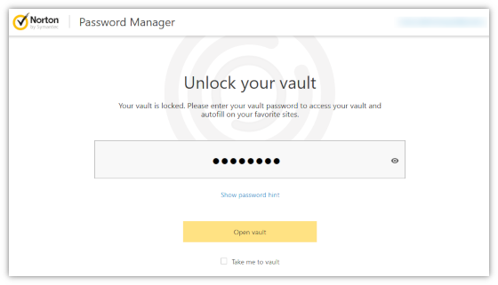 Open Vault From The Norton Toolbar Password Manager How To
