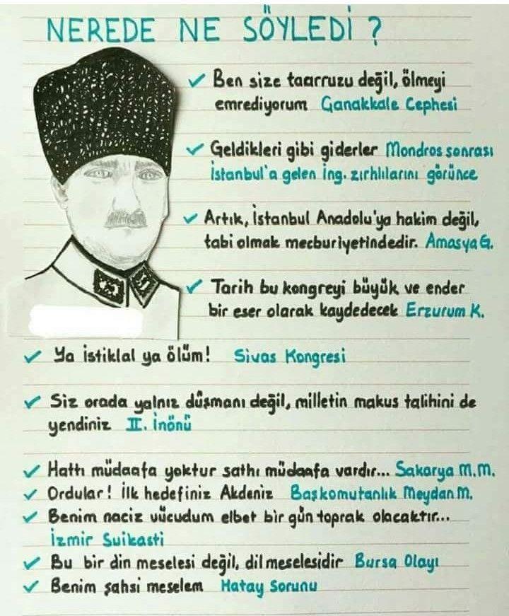 Atatürk nerede ne söyledi? - #Atatürk #ne #Nerede #söyledi #History study #Science notes #sciencehistory