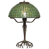 RARE Tiffany Studios Lamp, unusualbronze base with it's original patina golding a green leaded glass shade