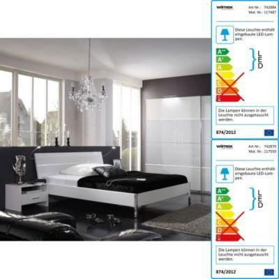 Komplett-Schlafzimmer mit Schwebetürenschrank,Glas weiß Jetzt