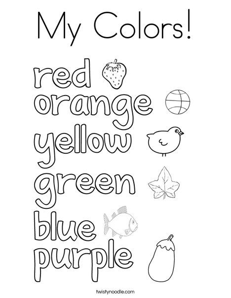 My Colors Coloring Page Color Worksheets For Preschool Kindergarten Reading Worksheets Learning English For Kids