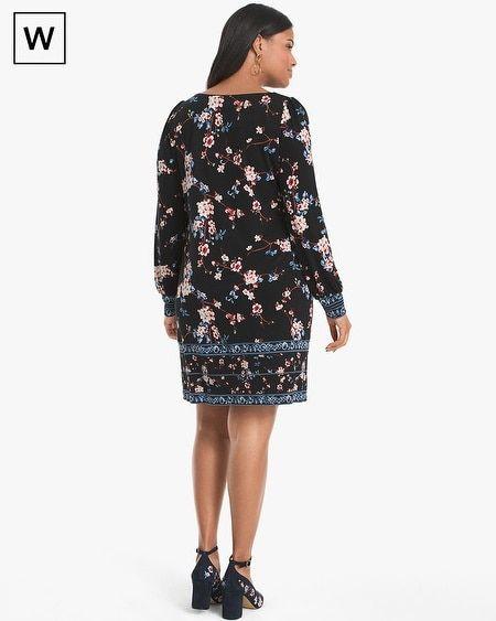 28027012782 Women s Plus Long-Sleeve Floral Knit Shift Dress by White House Black Market