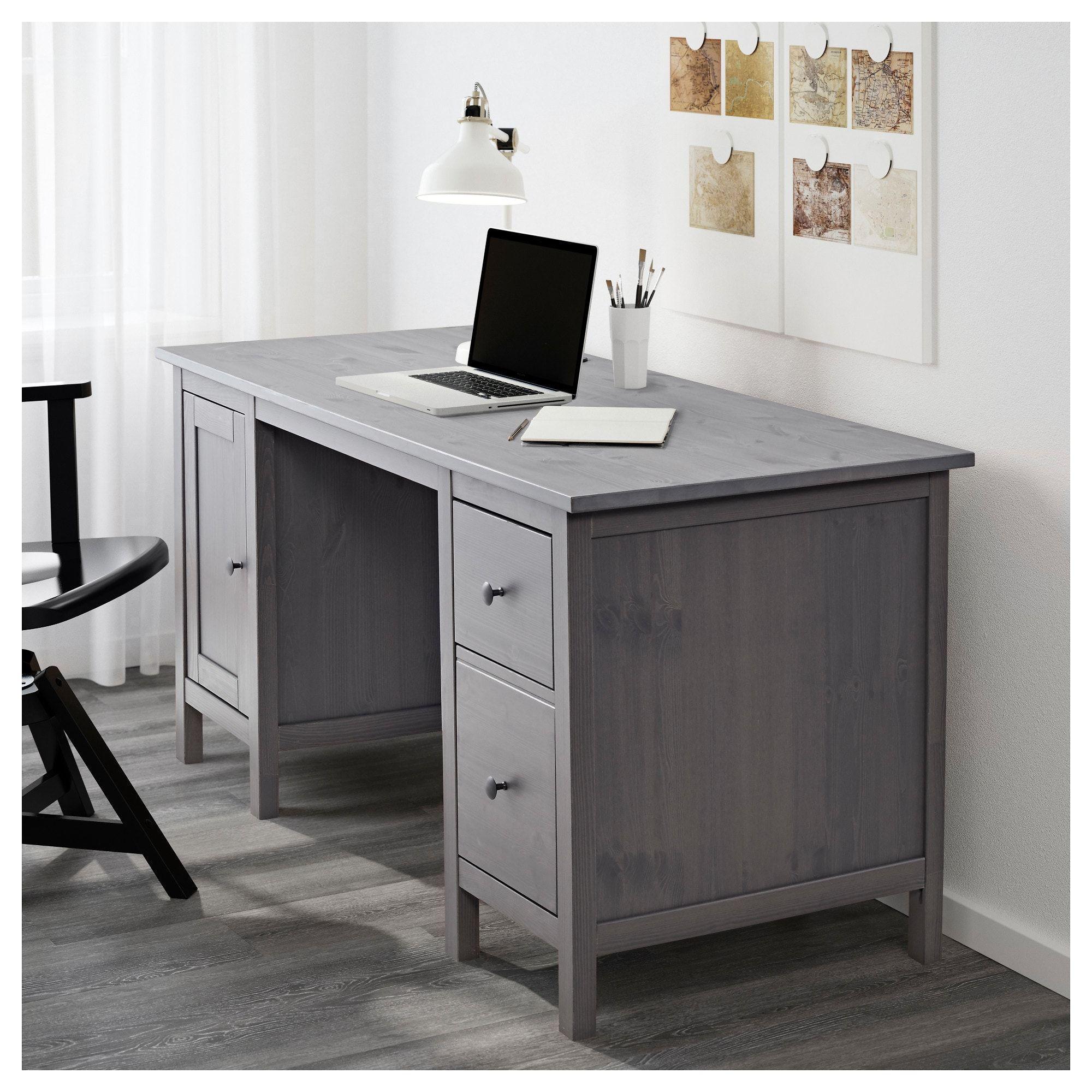 Hemnes Desk Gray Dark Gray Stained 61x25 5 8 Ikea Grey Desk Ikea Hemnes Desk Hemnes