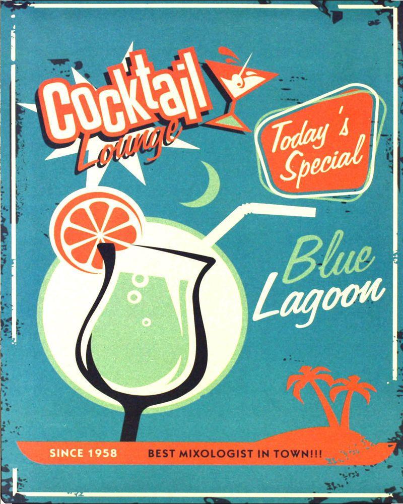 Details about cocktail lounge blue lagoon vintage art