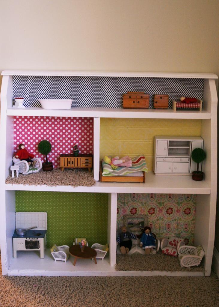 A Bookshelf Turned Dollhouse Homemade bookshelves