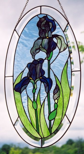 Oval Irises Stained Glass Panel Stained Glass Window Hanging