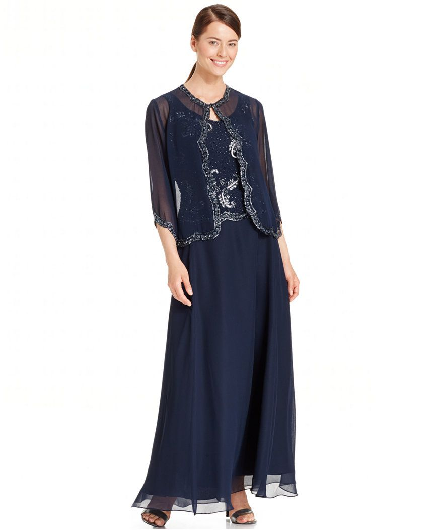 J kara embellished popover chiffon gown and jacket mother of the