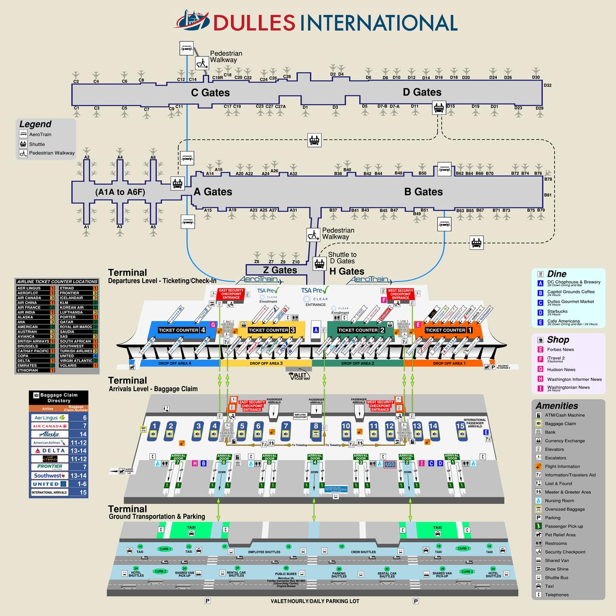 Dulles Airport Terminal Map IAD Airport and Terminal Map | Paris | Map, Diagram, Paris