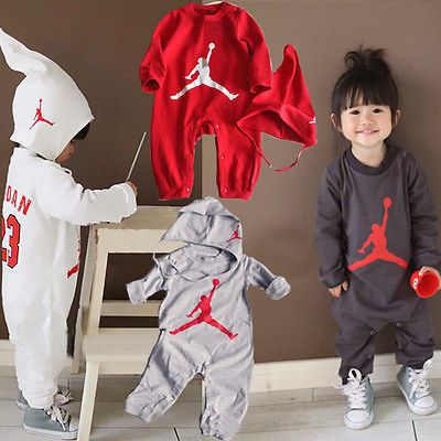 aa5d7bb85fd8 BABY BOYS LONG SLEEVE BASKETBALL JORDAN 23 ROMPER PLAYSUIT OUTFIT SET WITH  HAT