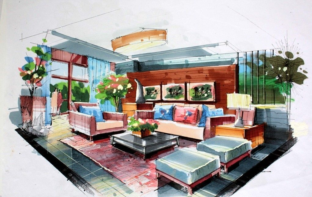 architecture hand drawing of interior home design of modern living room with sofa set and wall decor also big plant pot on the corner plus blue sheer - Interior Design Sketches