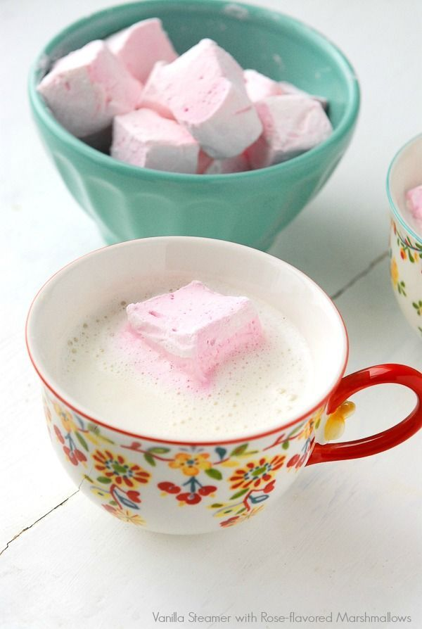 Vanilla Steamer with Rose-flavored Marshmallows #flavoredmarshmallows