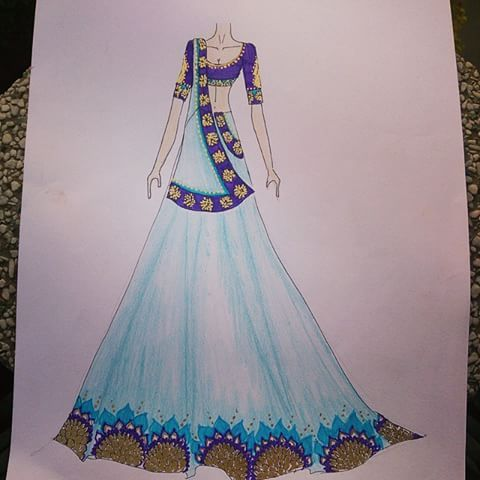 Lehenga Indian Wear Traditional Blue Purple Gold Art Instaart Fashion Illustration Sketches Dresses Fashion Illustration Dresses Dress Design Drawing