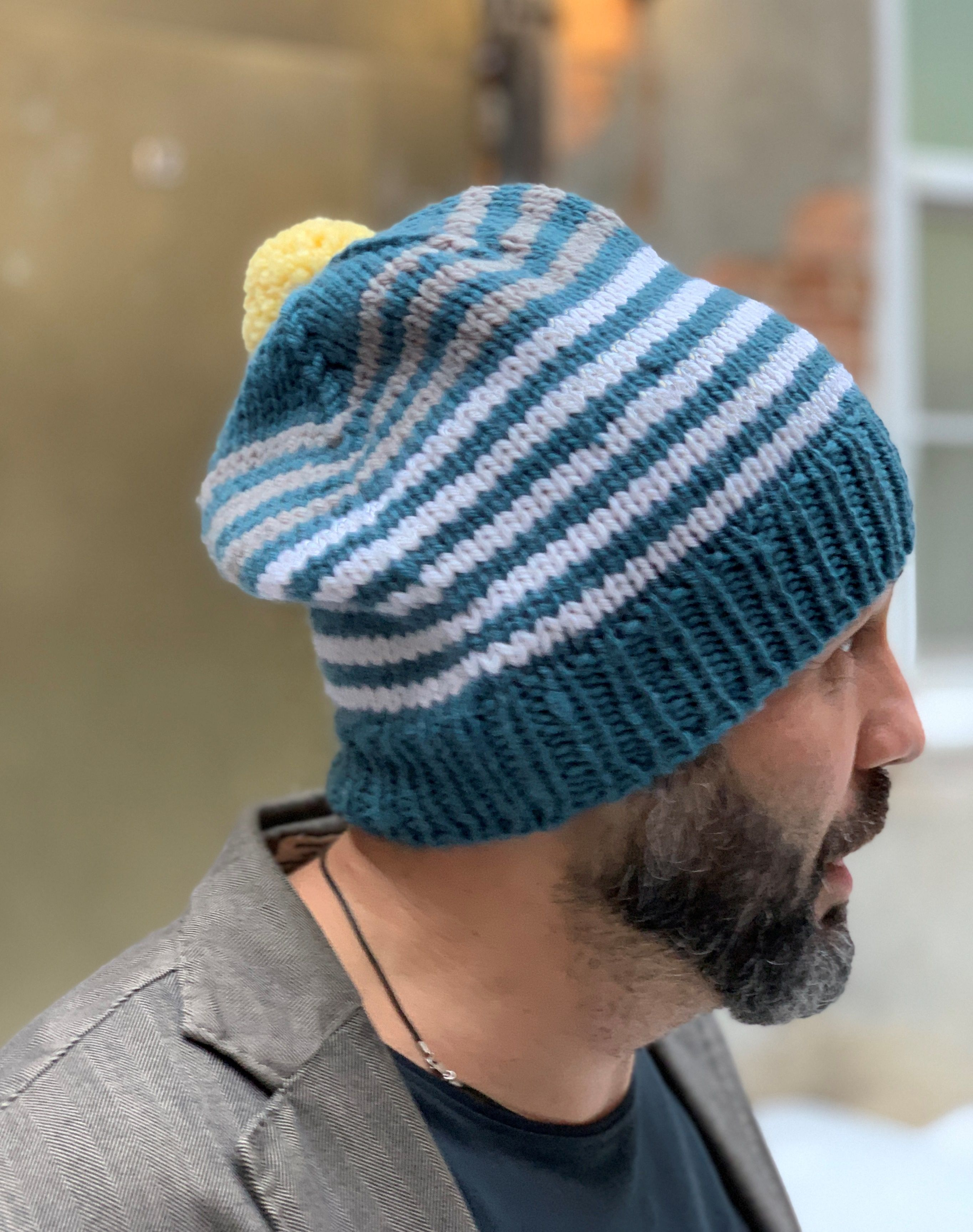 6230109c7d4 hatman  Altoknits This Striped knit Pom Pom men s winter beanie ...