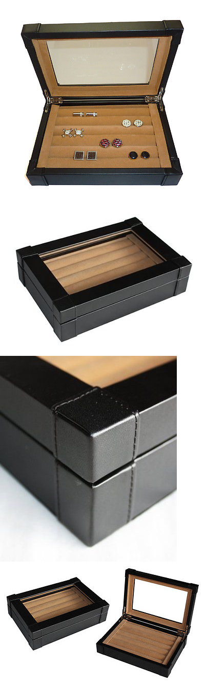 Cufflinks 137843: Black Leather Cufflink And Ring Storage Display Case Cuff  Links Mens Jewelry Box