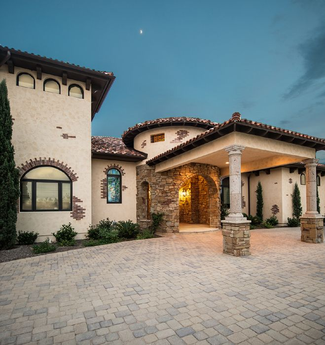 Home Mediterranean Homes Dream: Porte-cochere Of Mediterranean Style Spanish Oaks Estate