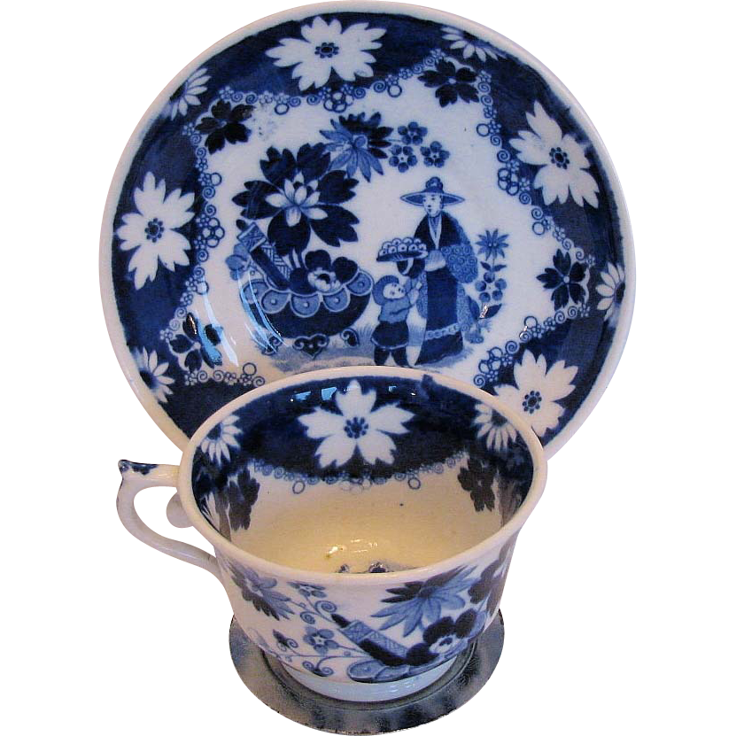 Hilditch Cup & Saucer, Eskimo Child Chinoiserie, Antique 19th C English