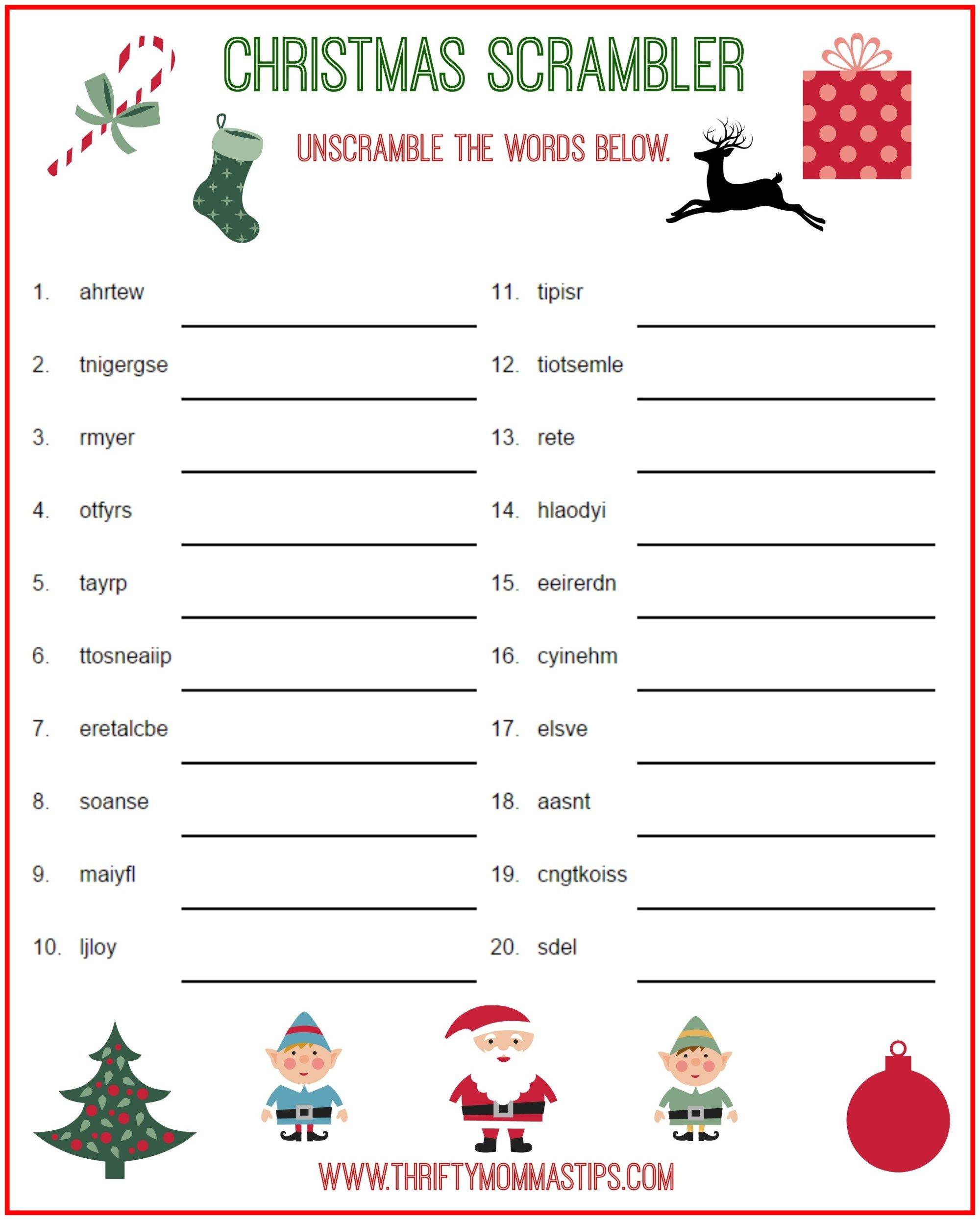 photo regarding Free Printable Christmas Puzzles titled Xmas Scrambler Absolutely free Children Puzzle Printables Xmas