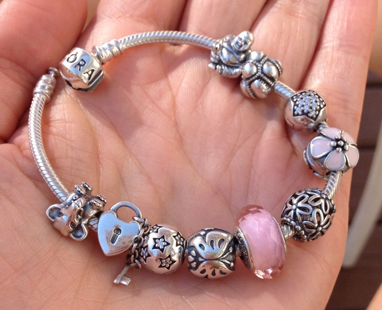 Pink pandora bracelet in progress | accesorios | Pinterest  Pink pandora br...