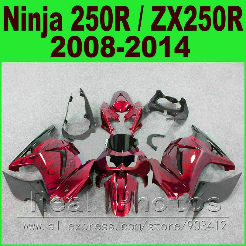 Body Kit Kawasaki Ninja 250r Fairings Black Red Ex250 Year 2008 2009 2010 2011 2012 2013 2014 Zx 250 Kawasaki Ninja 250r Kawasaki Ninja Motorcycle Accessories